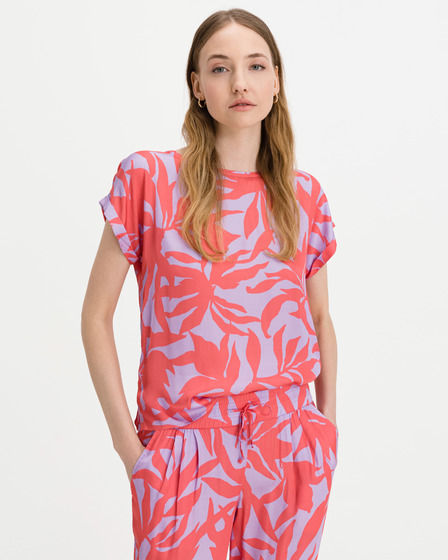 JUVIA Satin Abstract Leaves T-shirt