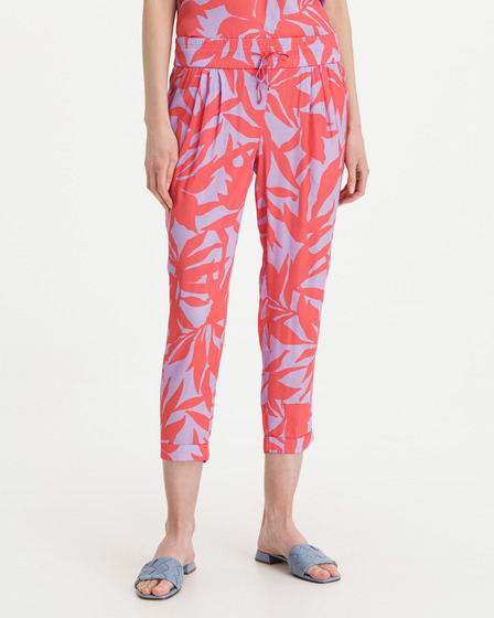 JUVIA Satin Abstract Leaves Trousers